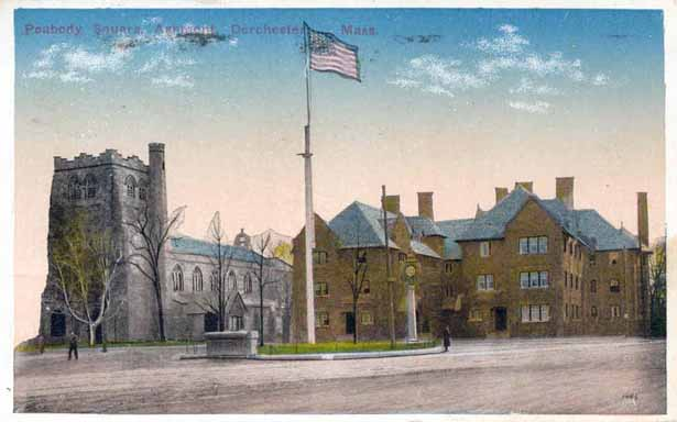 All_Saint_Episcopal_Church_and_the_Peabody_Apartment_building_at_Peabody_Square